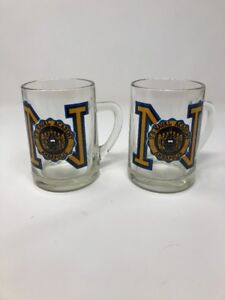 LOT OF 2 U.S. NAVAL ACADEMY ANNAPOLIS HEAVY CLEAR GLASS MUG GOOD FOR BEER COFFEE