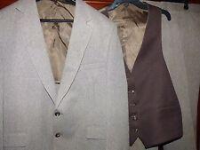Vintage Century Club Three Piece Suit Herringbone Brown Inc Reversible Vest