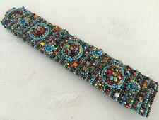 Czech Glass 9 Circle Beaded TURQUOISE, MULTI-COLOR Cuff Bangle