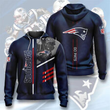 New England Patriots Hoodie Football Fans Zipper Sweatshirt Casual Hooded Jacket