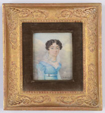 """Baron Etienne de Montval (fl. 1800/21) """"Young lady in landscape"""", fine miniature"""