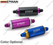 EPMAN RACING UNIVERSAL ALUMINUM FUEL FILTER WITH AN6 FITTINGS 100 MICRON 3 COLOR