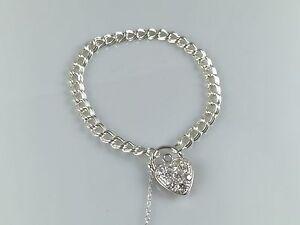 """925 Sterling Silver Women Charm Bracelet Cubic Zirconia Heart Padlock 7.5"""""""