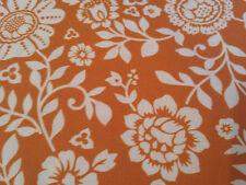 (11,32€/m²) Hilco Hilde  Baumwollstoff Blumen weiß auf orange 0,50m x 1,50m