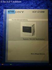 Sony Service Manual ICF C12W Kundendienstanleitung FM/AM Radiowecker (#6748)