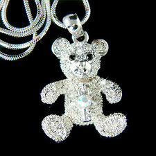 w Swarovski Crystal cute ~TEDDY BEAR~ key pet Charm Pendant chain Girls Necklace