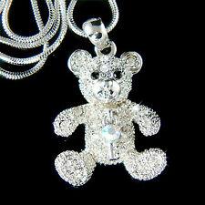TEDDY BEAR~ key made with Swarovski Crystal cute pet Charm chain Girls Necklace