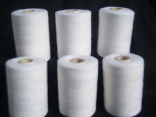 6 WHITE SEWING ALL PURPOSE 100% Pure COTTON THREAD SPOOLS, 800 METERS EACH