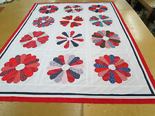 Patchwork Quilt Top 83 In x 107 In Bandana Fabrics Dresden Plate Family Blocks