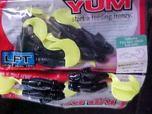 "Yum 3"" Samurai Curly Tail Shad, Black/Chart, #YSC3206, 10 pk for Fresh/Salt Fish"