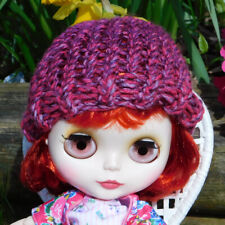 Pink Purple Beanie for Blythe - Cute Loom Knit Doll Hat - Perfect For Spring