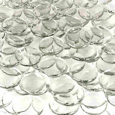 "Large 1.25"" Round Thin Clear Flat Top Bottom Glass Pebbles Mosaic Tile Wafers"