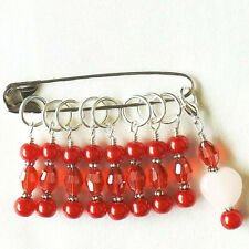 KNITTING ACCESSORIES.  STITCH MARKERS. HANDMADE. BEADED. SET OF 9  #317