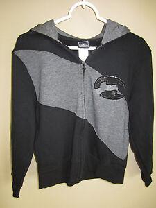 Boys CHAMPION Full Zip Hoodie Black Grey M 8 10