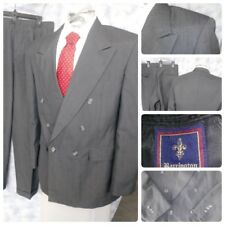 VTG BARRINGTON MENS 40R SUIT GRAY STRIPED PEAK LAPEL JACKET 32 X 29 PANTS 2PC