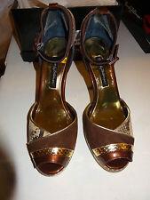 "Beverly Feldman 4"" Heel Peep Toe Strap Back Ladies Size 8.5M Gold Python NEW"