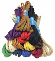 WAXED COTTON ROUND SHOE BOOT LACES SHOELACES - SEVERAL COLOURS - 3mm or 5mm