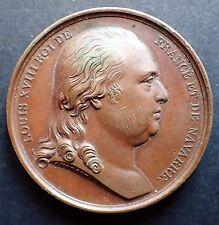 MEDAILLE bronze 1814 Louis XIV Charte Constitutionnelle par Andrieu RARE (A653)