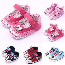 Kids Baby Girls Boy Soft Prewalker Boots Minnie Mouse Pram Shoes Toddler Sneaker