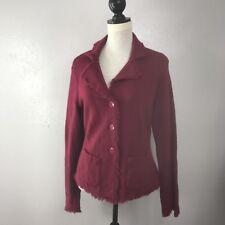 Talbots Women's Cardigan Merino Wool Button Fringe Long Sleeve Pockets  Large