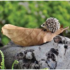 Fiddlehead Fairy Garden Miniature HEDGEHOG on BROWN LEAF - NIP