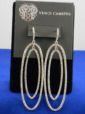 Vince Camuto Silvertone Pave' Double Oval Drop Huggie Hoop Earrings C402010 $88