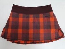 LULULEMON Pace Setter Skirt Yama Check Flaming Tomato Bordeaux 4 Reg WORN ONCE
