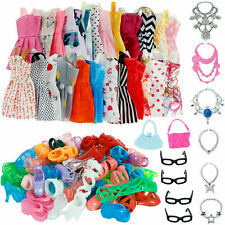 DOLLS SET PIECES BARBIE DOLL CLOTHES SHOES & HANGERS SET UK DRESSES SHOES 32PC