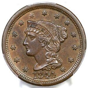 1844 N-5 PCGS MS 62 BN Braided Hair Large Cent Coin 1c
