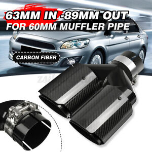 Right 63mm - 89mm Universal Glossy Carbon Fiber Dual Exhaust Tips Muffler Pipe