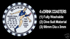 4 x BLUES CARLTON PREMIERS WITH YEARS WON  AUSSIE RULES DRINK COASTERS