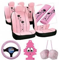 Sumex Seat Covers Harness Pads Steering Wheel & Dice Pink Girls Car Interior Set