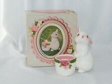 New in Box . Vintage Avon Bunny Bright 1980 . Ceramic Fragrance Candle Holder