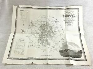 1831 Antique Map of Bedford County 19th Century Engraving Woburn Abbey Large Old