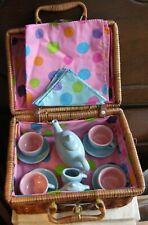 Childrens Porcelain Tea Set 4 Persons Fiesta Colors & Tablecloth - Napkins