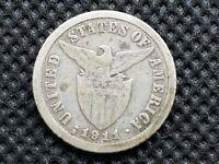 Philippines Ten 10 Centavos Coin 1911-S