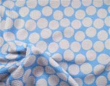 Bullet Printed Liverpool Textured Fabric Stretch Blue Big White Polka Dot N41