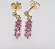 9ct yellow gold pink red ruby 4 stone drop earrings