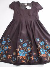FOREVER BNWT PRETTY CHOCOLATE BROWN SUMMER DRESS BLUE EMBROIDERED FLOWERS UK 8