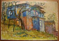 Russian Ukrainian Soviet Oil Painting Impressionism Landscape old house village