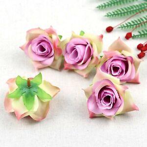 Fake Rose Artificial Silk Flower Heads Craft Wedding Decor 20-100X(Purple pink)