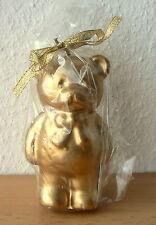 Kerze Motivkerze goldener Bär Teddy Teddybär Gold, 11,5 cm hoch, NEU mit Etikett