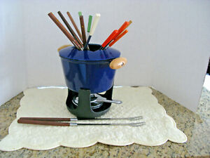 French Traditions Cast Iron blue enamel Fondue set with extra forks