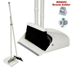 Dustpan and Broom Set Long Handle Stand Up Store with Broom Holder
