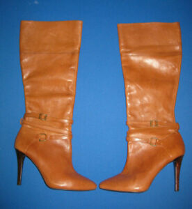 Lauren Ralph Lauren Kyla Size 8 Polo Tan Brown Knee High Stiletto Leather Boots