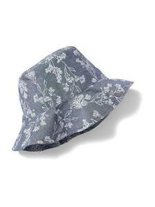Old Navy Gray Chambray Printed Baby Girl Canvas Sun Hat (ON-14), XS (6-12 mos)