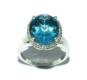 Ladies stunning 14ct white gold ring with a large topaz + diamonds UK size R 1/2
