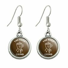 Humor Novelty Dangling Drop Charm Earrings The Daily Grind Coffee Work Funny
