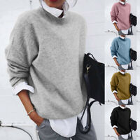 New Women Winter Fashion Long Sleeve Holiday Solid Color Sweater Tops Blouse