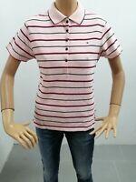 Polo TOMMY HILFIGER Donna Taglia Size L T-shirt Woman Cotone Maglia Righe 7640